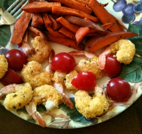 Pollenta Crusted Shrimp